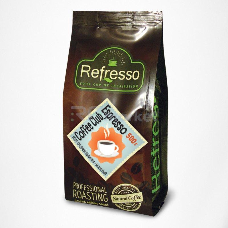 Кофе Клуб Эспрессо молотый, 500 гр., Рефрессо/Refresso