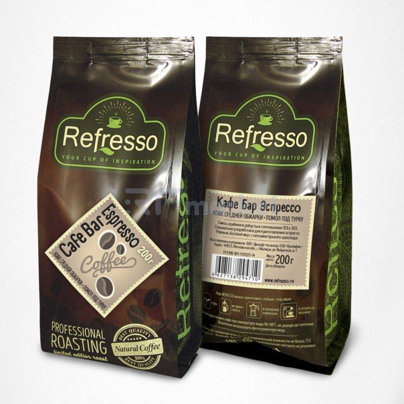 Кафе Бар Эспрессо молотый под турку, 200 гр., Рефрессо/Refresso