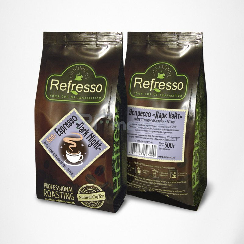 Эспрессо Дарк Найт зерно, 500 гр., Рефрессо/Refresso
