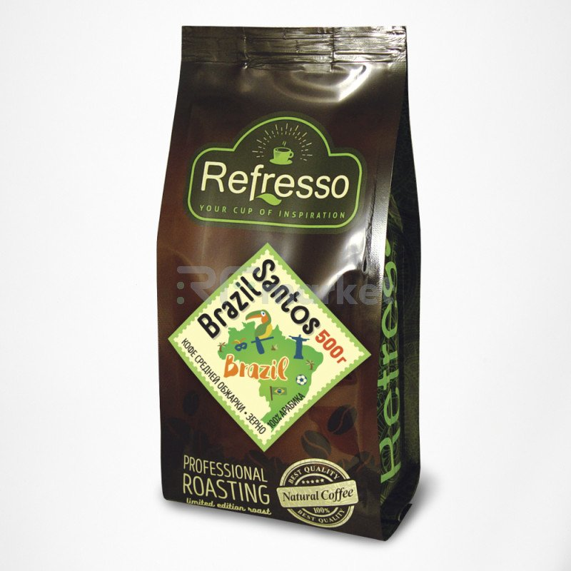 Бразилия  Сантос кофе моносорта зерно, 500 гр., Рефрессо/Refresso