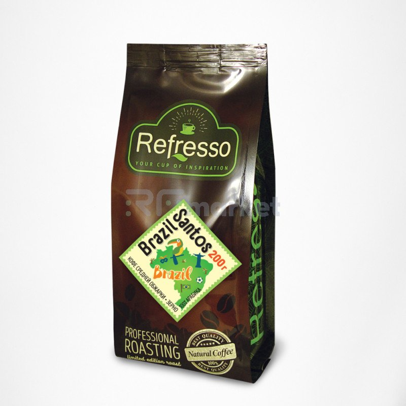 Бразилия Сантос кофе моносорта зерно, 200 гр., Рефрессо/Refresso