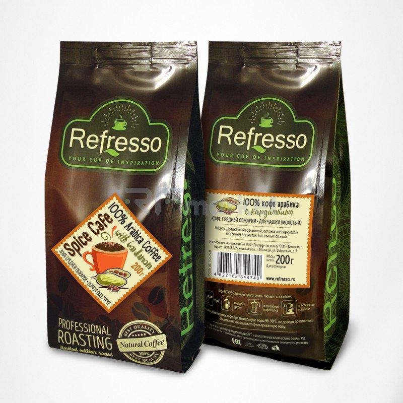 Спайс кафе кофе с кардамоном молотый под турку, 200 гр., Рефрессо/Refresso