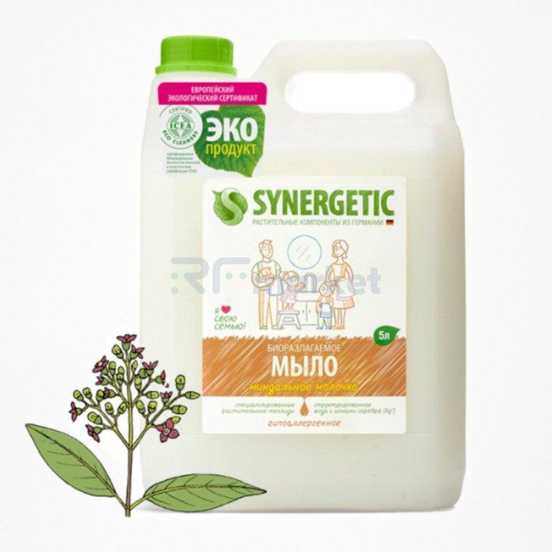"""Жидкое мыло Synergetic """"Миндальное молочко"""", гипоаллергенное, с эффектом увлажнения, 5 л"""
