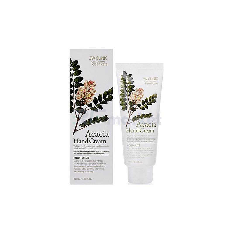 3W Clinic Крем для рук с экстрактом акации - Acacia hand cream, 100мл