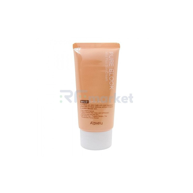 A'Pieu Крем мягкий солнцезащитный - Pure block natural mild plus sun cream SPF32/PA++, 50мл