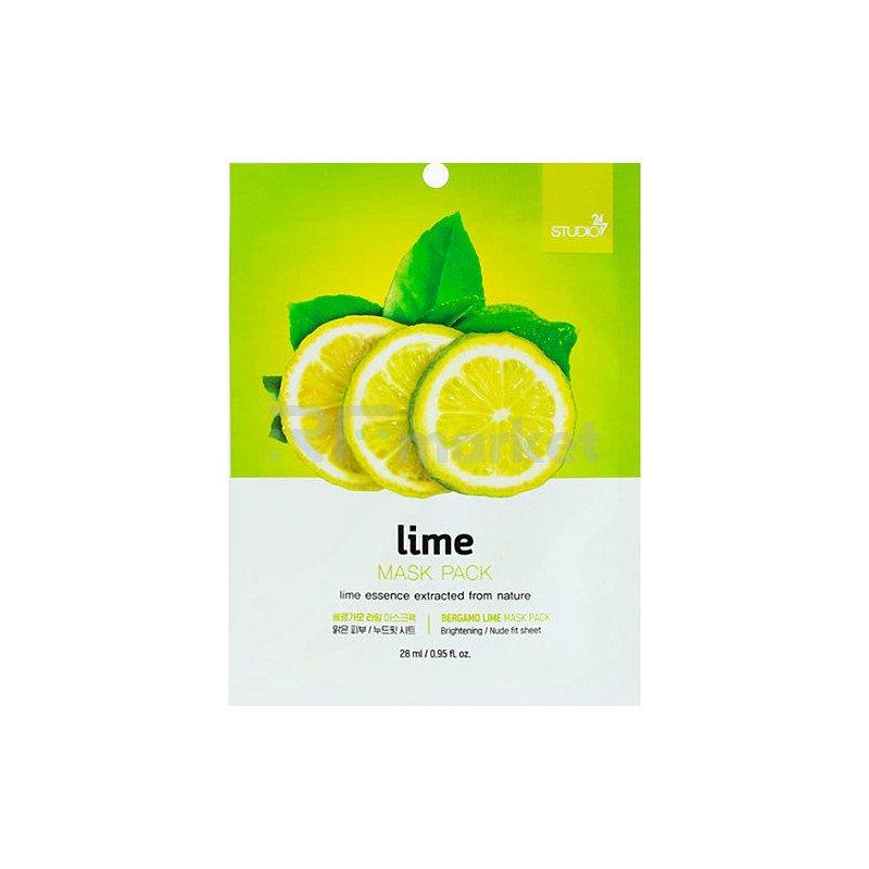 Bergamo Маска тканевая для лица с экстрактом лайма - Lime mask pack , 28мл