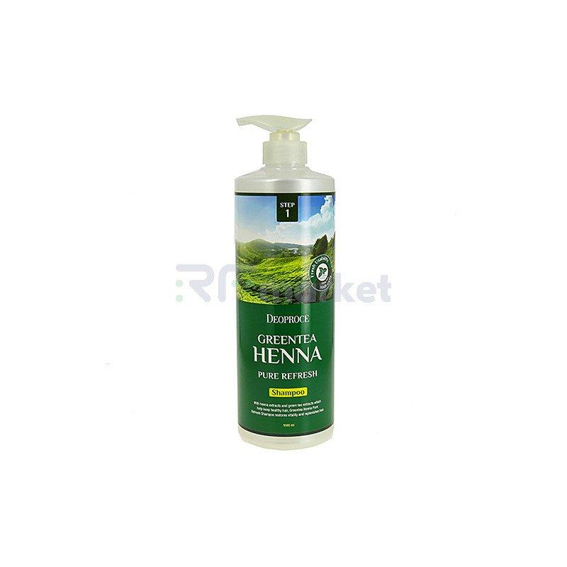 Deoproce Шампунь для волос с зеленым чаем и хной - Green tea henna pure refresh shampoo, 1000мл
