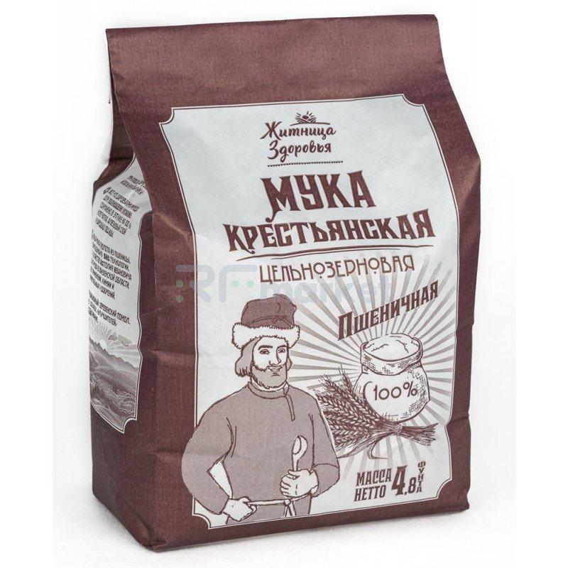 Мука пшеничная цельнозерновая Крестьянская 100%, 2кг