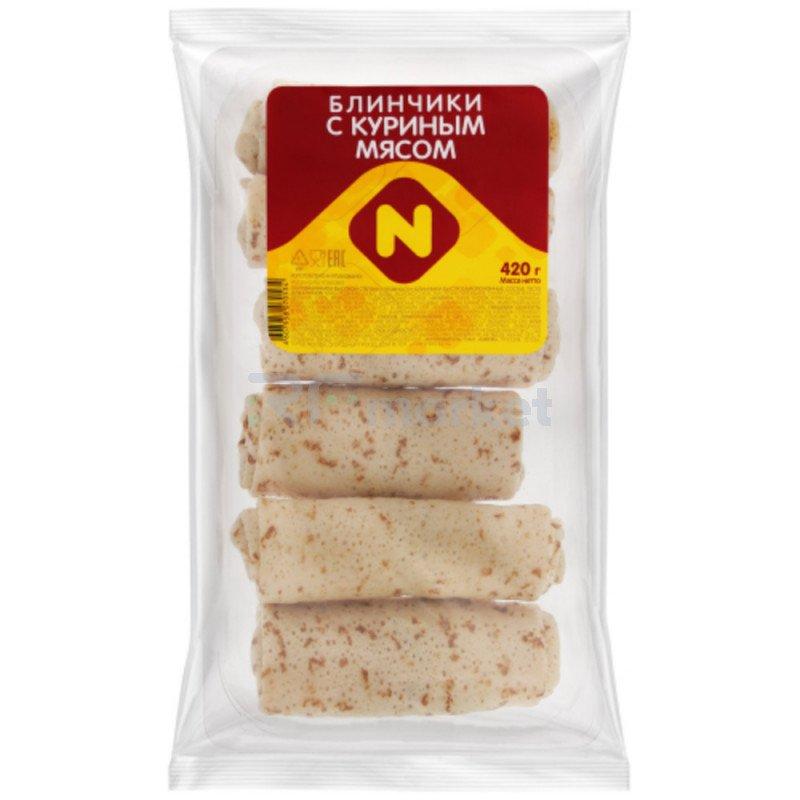 Блинчики Останкино с мясом курицы замороженные 420 г