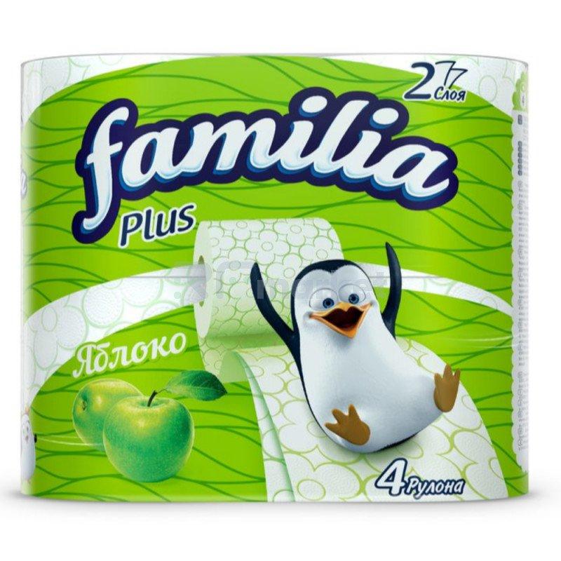 """Туалетная бумага """"Familia Plus"""" 2-хслойная, Яблоко, 4 рулона."""